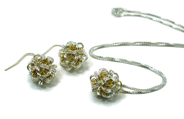 Sterling Silver & 14kt Gold Fill Dodecahedron Chainmaille Earrings & Necklace Two Piece Set