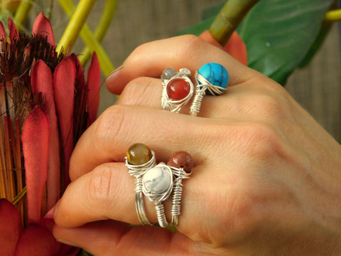 Wire Wrapped Stackable Gemstone Rings