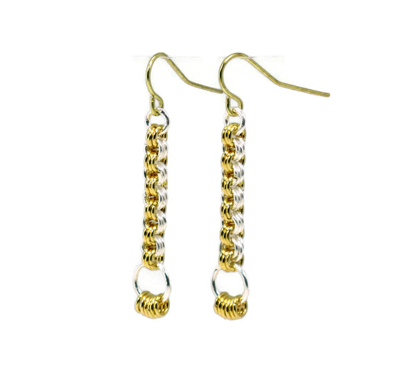 Chainmaille Mastering the Basics Striped Pillar Earrings