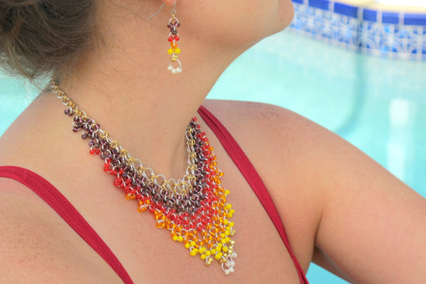 Chainmaille Mastering the Basics Epic Sunrise Necklace and Earrings