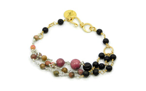 Rhodonite and Lava Stone Bracelet in sterling silver and 14kt gold fill
