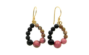 Rhodonite and Lava Stone earrings in sterling silver and 14kt gold fill