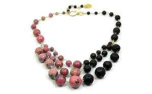 Rhodonite and Lava Stone Necklace in sterling silver and 14kt gold fill