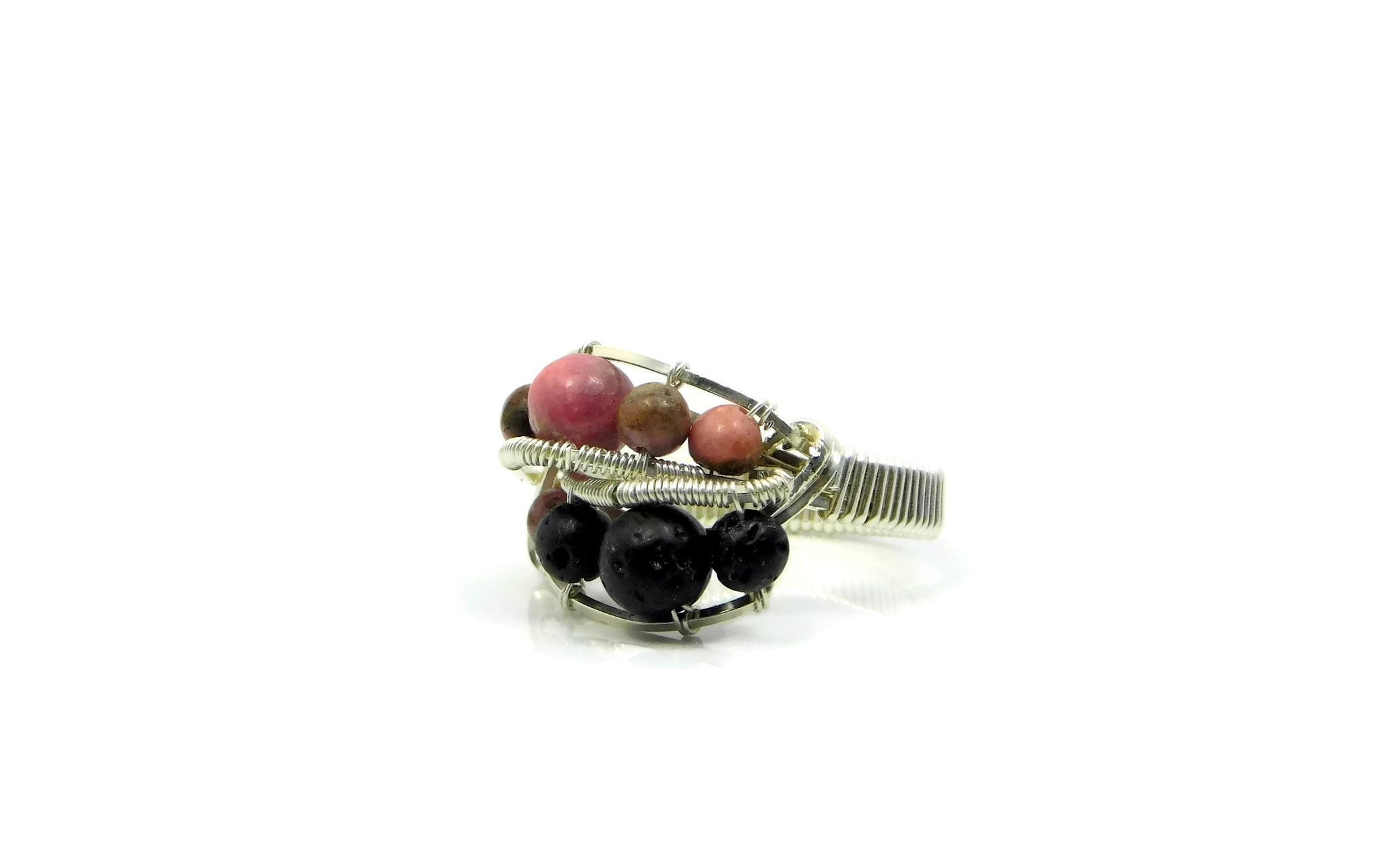 Rhodonite and Lava Stone Ring in sterling silver and 14kt gold fill cold fusion jewelry gold and silver jewelry handmade silver jewelry sterling silver jewelry artisan jewelry handmade gemstone jewelry one of a kind jewelry unique jewelry gemstone rings
