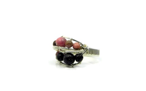 Rhodonite and Lava Stone Ring in sterling silver and 14kt gold fill