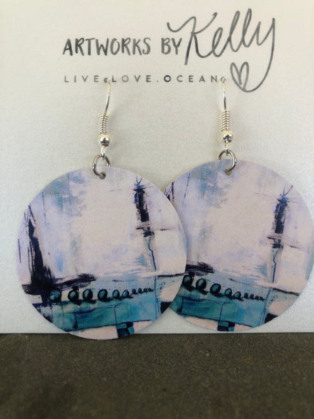 """Blue Abstract"" Earrings"