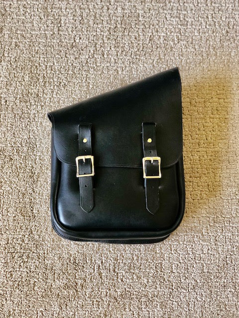 Half & Half Saddle Bag- Black Leather with Nickel Hardware - Right side (PTM)