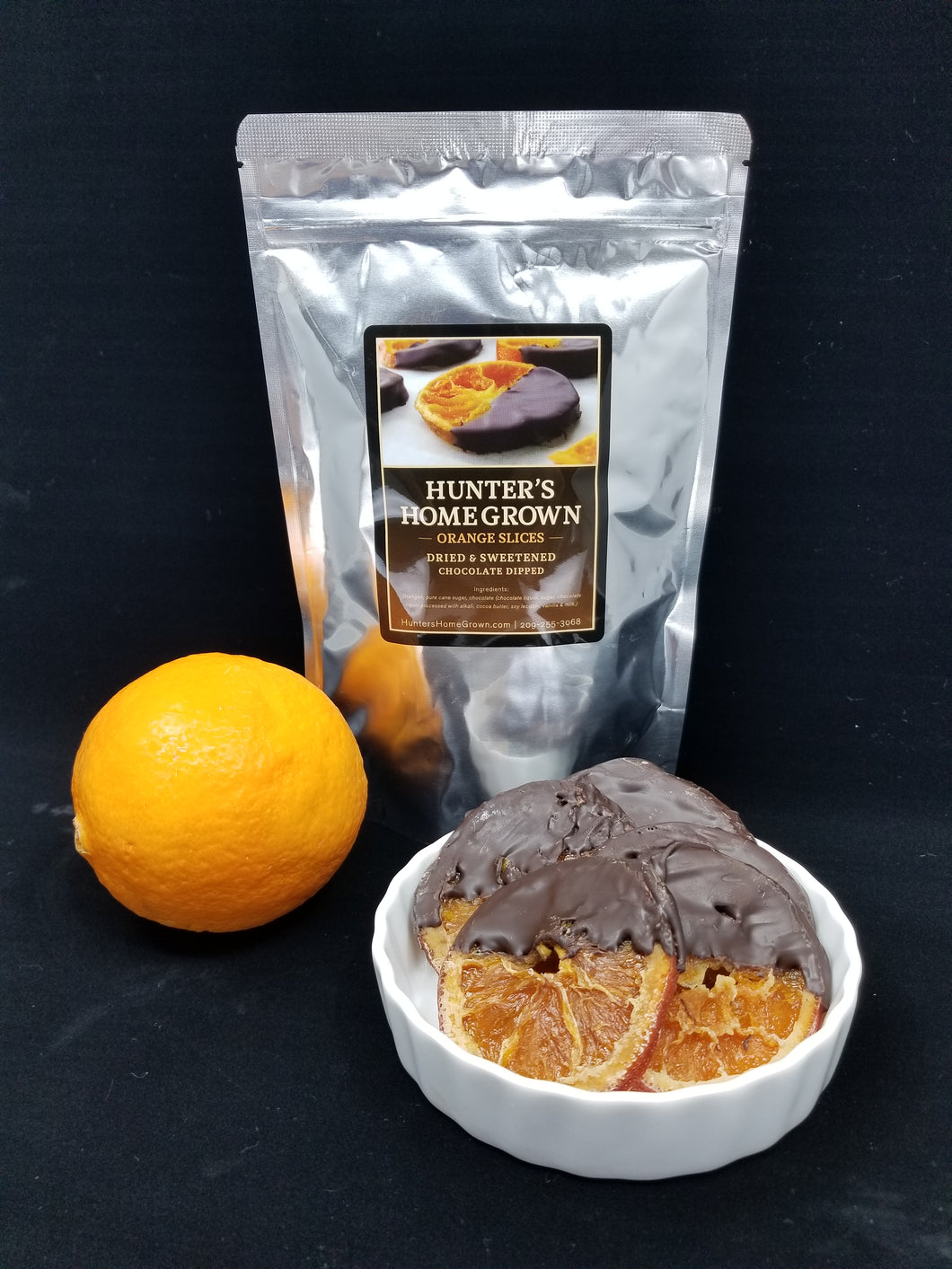Sweetened Orange Slices Dipped in Dark Chocolate