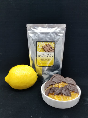 Sweetened Lemon Slices Dipped in Dark Chocolate
