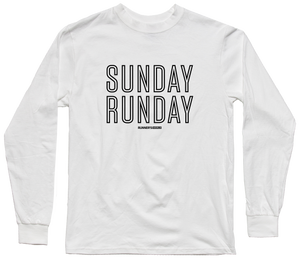 """Sunday Runday"" Long Sleeve Tee - White"