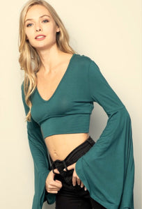 Super Bell Crop Top - Hunter Green