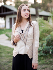 Cream Faux Leather Moto Jacket