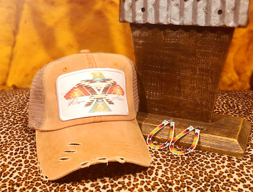 Aztec Thunderbird Distressed Hat - Mustard