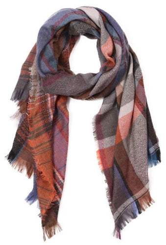 Rust Oblong Plaid Scarf