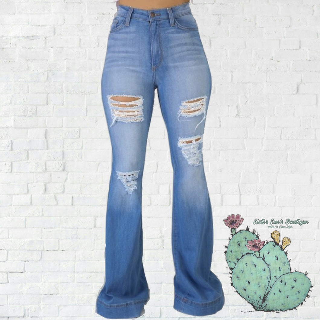 True Lovin' Bell Jeans - Destroyed Medium Wash
