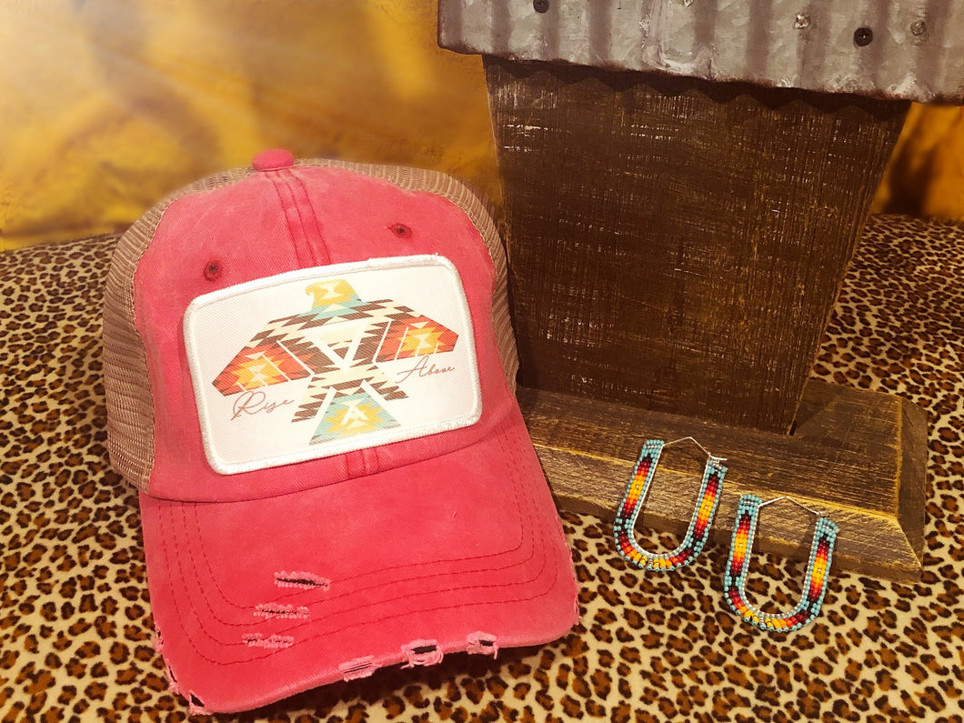 Aztec Thunderbird Distressed Hat - Red