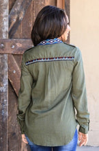 Aztec Olive Button Down