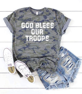 God Bless Our Troops Tee
