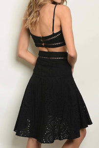 Eyelet Belle Black Dress Set