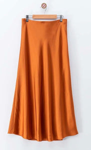 Sassy Satin Midi Skirt - Rust