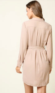 Cute As A Button Dress - Nude