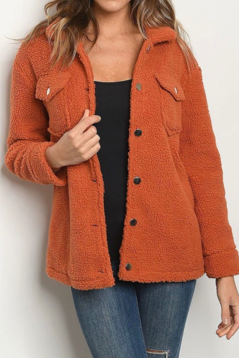 Retro Rust Sherpa Jacket