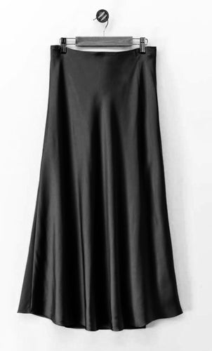 Sassy Satin Midi Skirt - Black