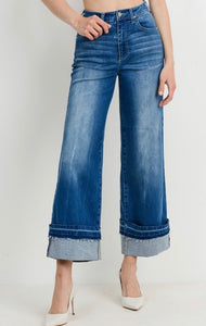 Cuffed Denim Gaucho Jeans