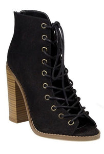 Laced Open Toe Booties - Black