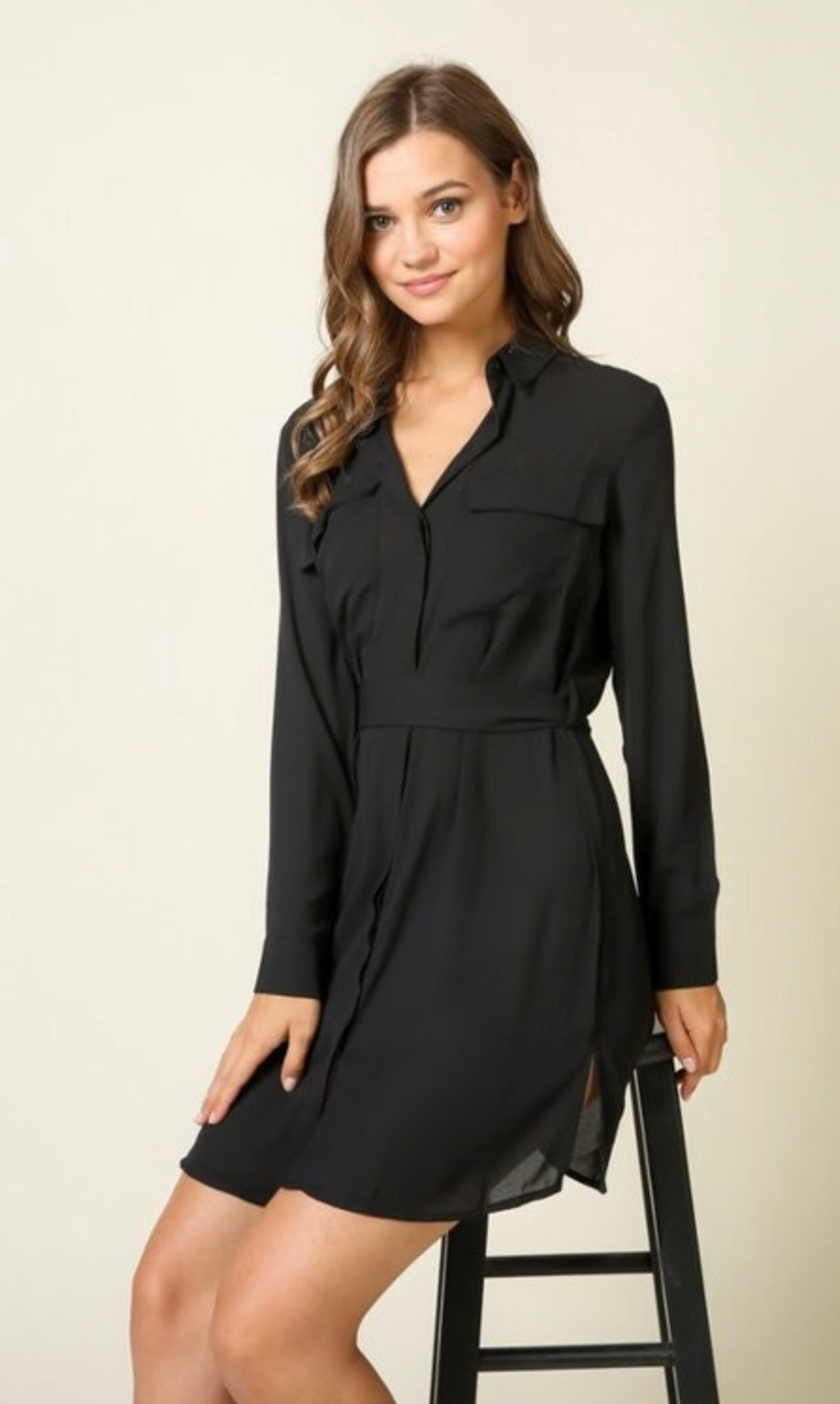 Cute As A Button Dress - Black