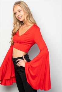 Super Bell Crop Top - Red