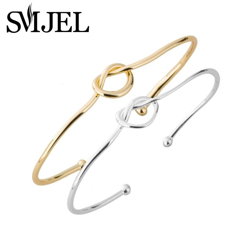 SMJEL Fashion Jewelry New Open Love Knot Bracelet Bangles for Women Cuff Bangles Bridemaids Gifts pulseras mujer moda G004
