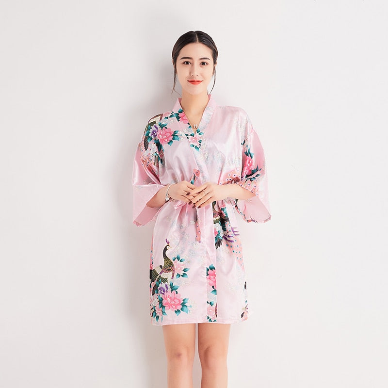 Chinese Style Summer Lady Robe Gown Sexy Mini Short Night Dress Bride Bridemaid Kimono Bathrobe Casual Home Clothes Dressing