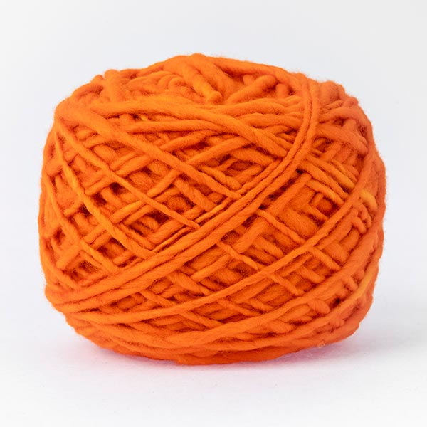 100% merino wool bright orange colour wool
