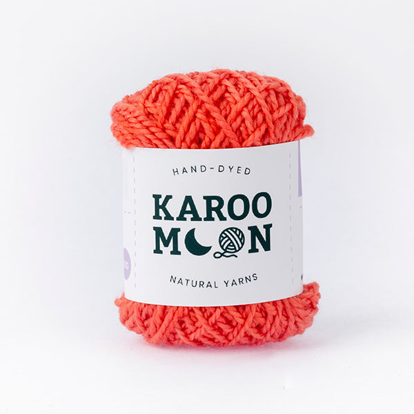 Coral red mini moon merino wool ball band