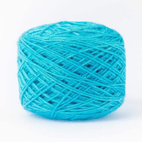 wool blend bright blue ball of yarn