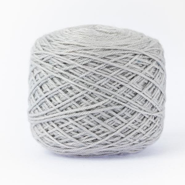 wool blend light grey colour ball of yarn