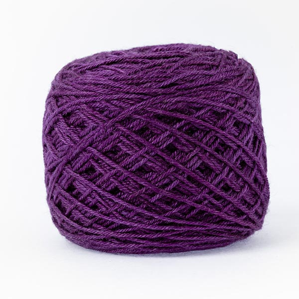 wool blend purple colour ball of yarn