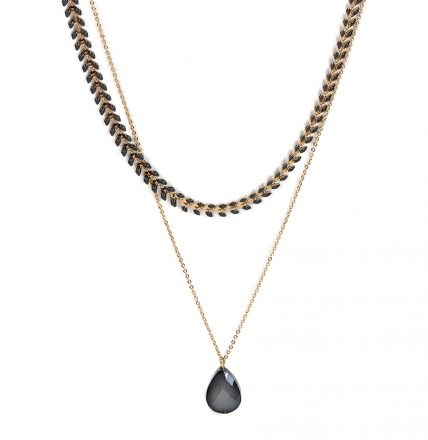 Fishbone Pear Drop Two Layered Necklace