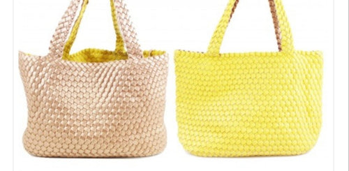 Reversible Gold/Yellow Woven Bag With Pouch