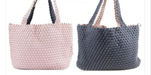 Reversible Pink/Navy Woven Bag With Pouch