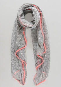 Animal Print scarf with Neon Pom