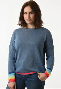 Rainbow Cuff Blue Jumper