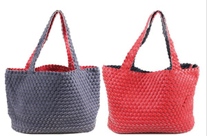 Reversible Navy/Red Woven Bag with Pouch Bag