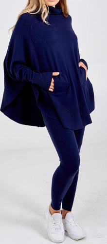 Batwing Navy Jumper & Leggings
