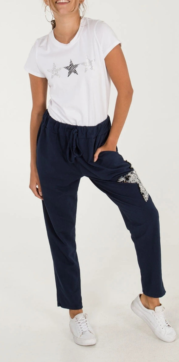 Sequin Star Navy Joggers