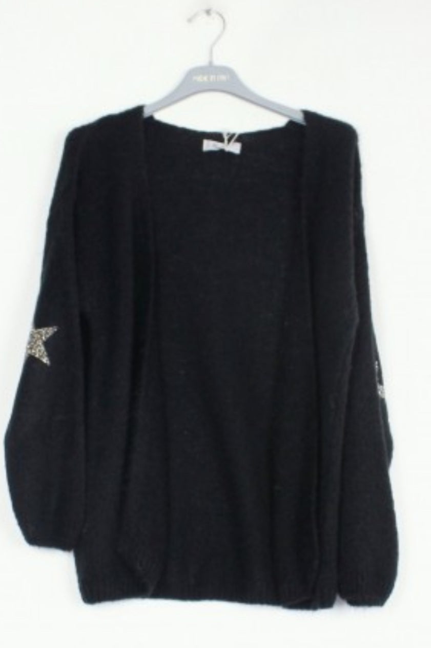 Black Mohair Cardigan with Stars
