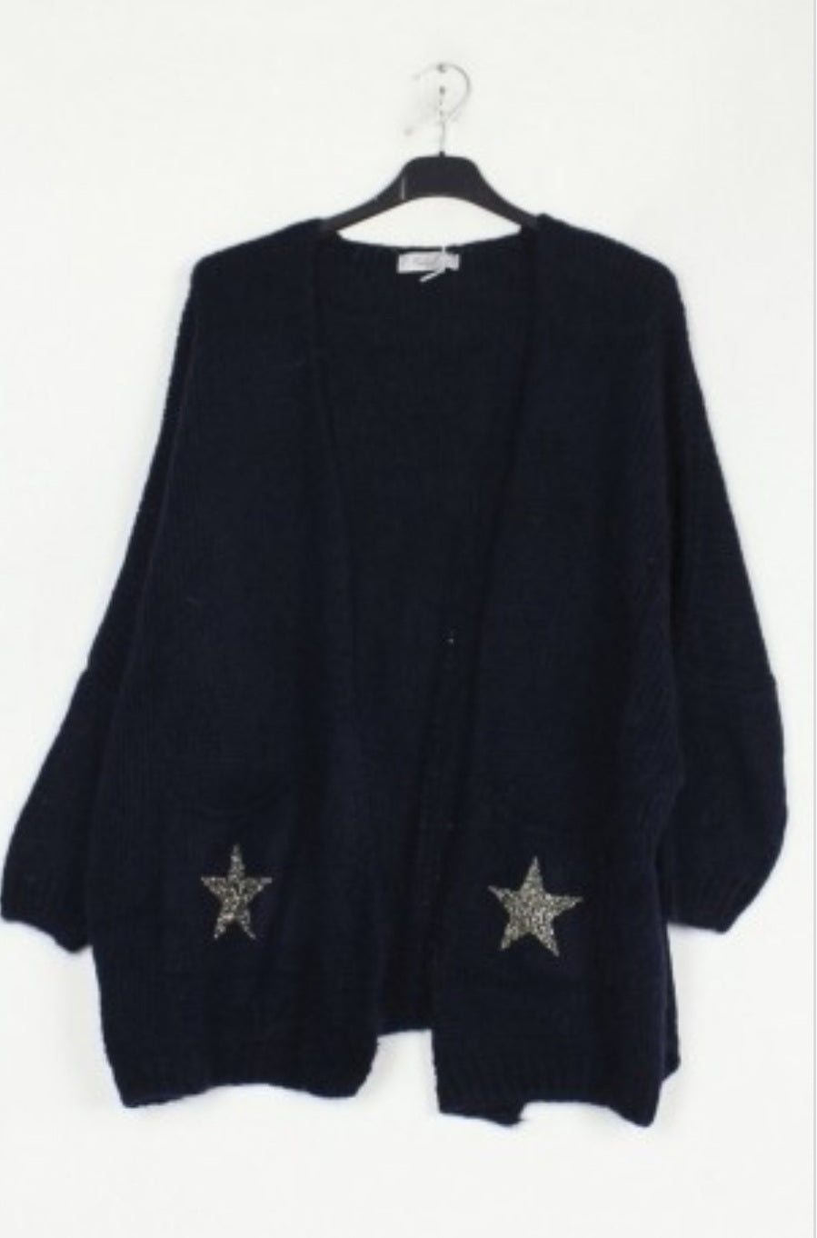 Stella Black Mohair Cardigan with Stars