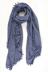 Thick Denim Blue Pom Pom Scarf