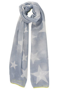 Denim Blue Scarf with White Stars & Neon Yellow Trim